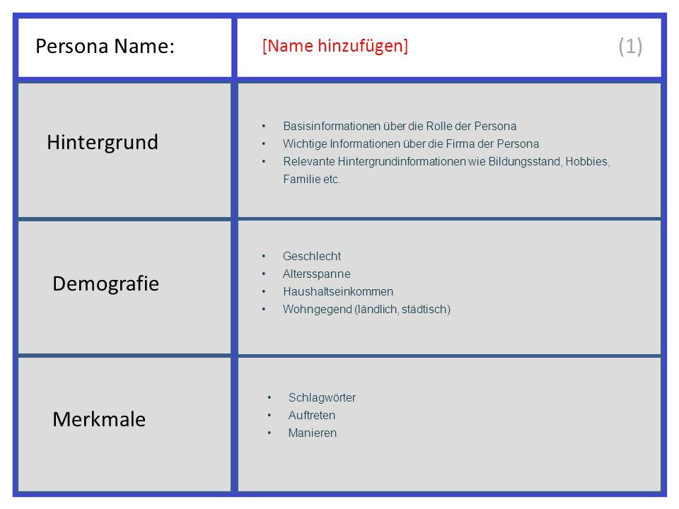 Persona Name: (1) Hintergrund Demografie Merkmale [Name hinzufügen]